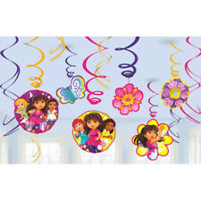 DORA THE EXPLORER PARTY SUPPLIES SWIRL FOIL 12 HANGING DECORATIONS KIT 12 PCS