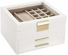 Jewelry Box with Glass Lid, christmas gifts, 3-Layer Jewelry Organizer with 2 Dr