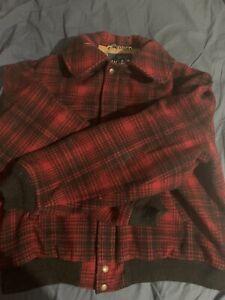 woolrich bomber  Red Plaid Wool Hunting Coat Jacket Large Vintage Harrington