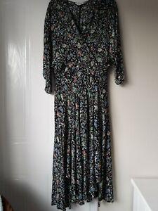 Nine Savannah Miller black floral midi dress with cross over front size 14