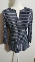 Talbots Small Petite Womens Pullover Blouse Rayon Blend 3/4 Sleeve Stripes