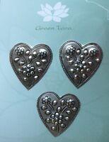 METAL Embellishments 3 x HEART with Flowers DESIGN Size 38 x 38mm Green Tara B