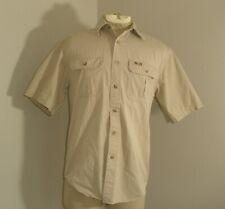 Mens CARHARTT S110 Stone Beige Short Sleeve button up down Canvas shirt Small