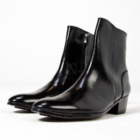NewStylish Mens Fashion Shoes Black plain toe high heel ankle boots