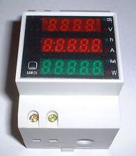DIN Rail LED Digital AC Volt/Amp/power/Power factor 80-300v 0-100A    UK stock