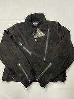 Womens DISTURBIA Black Embroidered Moto Biker Jacket Sz 8 NEW NWT