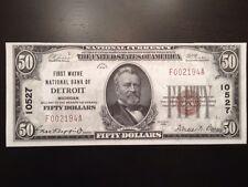 Reproduction $50 National Bank Note 1929 1st Wayne National Bank Detroit, MI