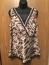 Lane Bryant Blouse Womens Plus Size 20 1X Sleeveless Silk Cami Lace Top Leopard