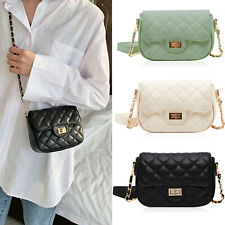 Women's Small Flap Crossbody Handbag PU Quilted Rhombic Purse Chain Shoulder Bag