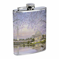 Washington D.C. D7 Flask 8oz Stainless Steel Hip Drinking Whiskey Monuments