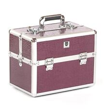 Vanity case Makeup box Cosmetic Beauty Nail Hair Jewellery Storage Purple Croc