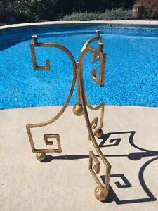 Mid Century Italian Gold Gilt Tole Metal Greek Key Side Table Hollywood Regency