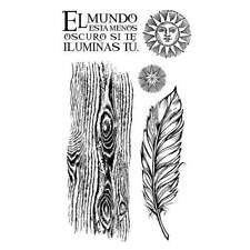 Stamperia - Red Rubber Stamp 10x16cm - Cosmos feather Wood Astrology Mixed Media