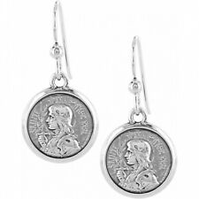 NWT Brighton Devotion JOAN OF ARC French Wire Earrings Silver Rose  MSRP $34