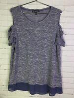 INC International Concepts Womens XL Blue Sheer Knit Cold Shoulder Top Blouse