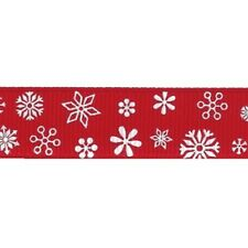 Christmas Snowflake Stars & Candy Stripe Grosgrain Ribbon Assorted Designs Snowflakes - White on Red 16mm 3 Metres