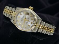 Rolex Datejust Ladies 2Tone 18K Gold Stainless Steel Watch Silver Diamond 69173