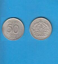 § Suède Sweden  Silver Coin 50 öre en Argent 1953