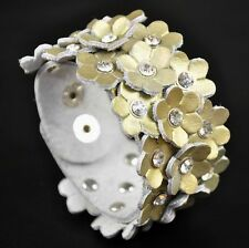 ADORABLE LITTLE FLOWERS & RHINESTONE WIDE LEATHER BRACELET WRISTBAND CUFF GOLDEN