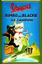 Vespa Bimbo & Blackie embossed steel sign (hi 3020)