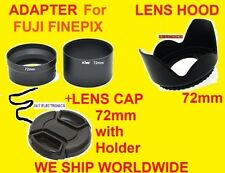 CAMERA LENS ADAPTER TUBE+HOOD+CAP 72mm for FUJI S3380 HD S3380HD FINEPIX