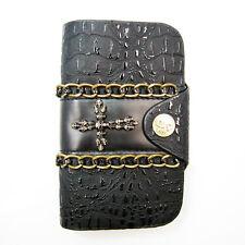 Womens Biker/Skull/Gothic black leather wallet-Cross