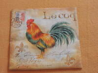 5 stück servietten Le coq HAHN schrift briefmarke frankreich 1/4 hühner STEMPEL