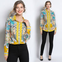 2019 Spring Summer Fall Floral Print Women Casual Long Sleeve Shirt Top Blouse