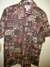"Kai Nani ® Hawaiian Aloha Shirt Cotton Blend Brown Geometric Large 24"" P2P EUC"