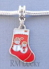 Pendant Christmas Stockings. Large hole bead. Fit European Charm Bracelet C113
