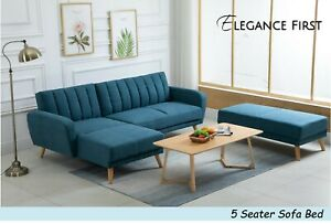 Fabric Sofa Couch Corner Chaise L-Shape 5 Seater Lounge Suite Sofa Bed