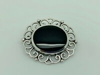 Gorgeous Vintage Sterling Silver Black Onyx Fancy Art Nouveau Style Brooch