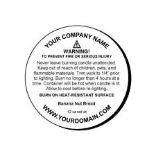 "24 Personalized Candle Warning Round Glossy Labels Stickers 2"" Inch"