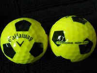 "10 CALLAWAY  ""CHROME SOFT"" - ""YELLOW  WITH BLACK TRUVIS"" - ""PEARL/A"" Grades."
