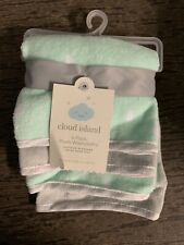 Cloud Island Baby Girl-Boy Washcloths 4-Pack Mint Green Grey White Plush