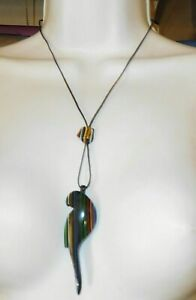 Sobral Bichos Arara Parrot Night Vibrant Stripes Pendant Necklace Brazil Import