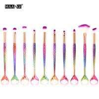 10PCS Makeup Brushes Set Rainbow Powder Foundation Blusher Mermaid Make up