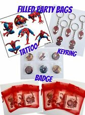 SPIDERMAN PARTY BAGS,BIRTHDAY,BAG FILLER,FILLED,TATTOO, BADGE,KEYRING