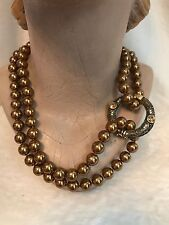 "GOLD BROWN PEARL - HEIDI DAUS 35"" Long Necklace with ""Dailey Double"" Clasp"