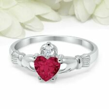 1.1Ct Heart Cut Pink Ruby Claddagh Ring Irish Engagement 14ct White Gold Over