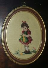 """vintage antique oval wooden gold glass frame + cross stitch girl picture 11""""x9"""""""