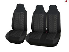 For Peugeot Expert Boxer Partner Tyre Design Black Soft Fabric Van Seat Covers