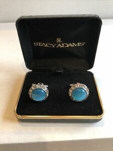 Stacy Adams Round Turquoise Cufflinks Sets Fashionable New In Gift Box.