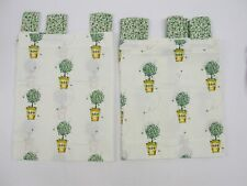 JC Penney BUSY BEE Valance & Tier Set ~ Green Yellow on Ivory Background