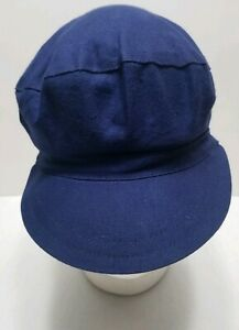 Blue Casual Relaxed Women's Cabbie Hat- 100% Cotton Made In France By Chauffe
