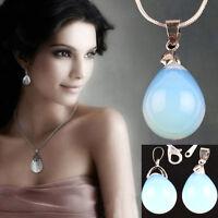 Elegant Women Girls 2Pcs Agate Opal Carnelian Gemstone Jewelry Pendant 33x15mm