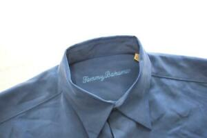 Tommy Bahama Hawaiian Shirt Silk Wool Blue Long Sleeve Mens Size Medium
