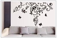 Wandtattoo  Wandaufkleber Deko Blumenranke  Schmetterlinge Wohnzimmer  #9106