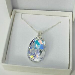 925 Silver Large 28mm Necklace Pendant Pear AB Made With Swarovski® Crystals