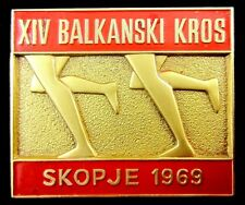 VINTAGE OLD BALKAN  GAMES XXIV BALKAN CROSS COUNTRY SKOPJE 1969 OFFICIAL BADGE